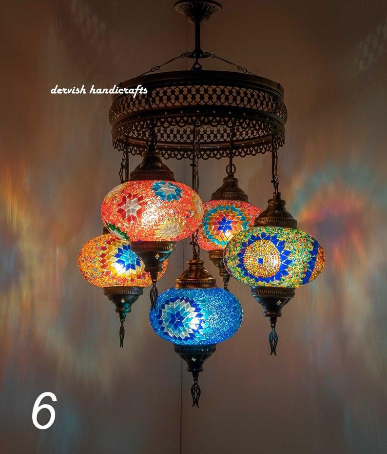 "Turkish Lampshade Mosaic Lighting Ceiling Lamp Turkish Lamp Hanging Lamps Moroccan Lamp 28"" Height"