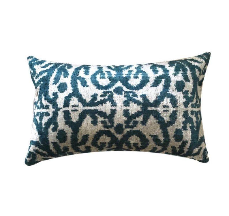Petrol / Teal Velvet Ikat Cushion Pillow Cover, 30 x 50 cm, Decorative Pillow