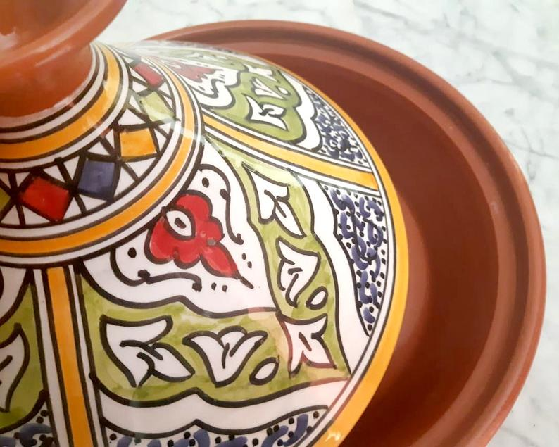 Hand Painted Large Tagine Pot   Food Safe   Yellow Green Blue   Clay Ceramic Glazed Moroccan Tunisian Berber Traditional Cookware Tableware
