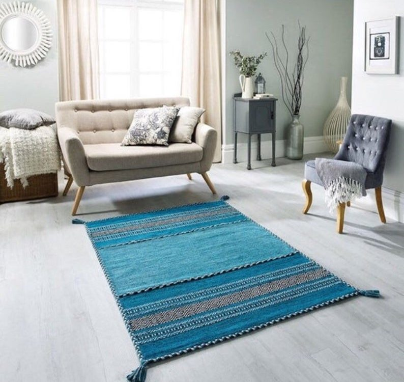 Blue Moroccan Kilim, Teal Boho Style Rug, Handmade Moroccan Rug, Morocco Living Room, Boho Style Rug, 120 x 170 cms Area Floor Mat
