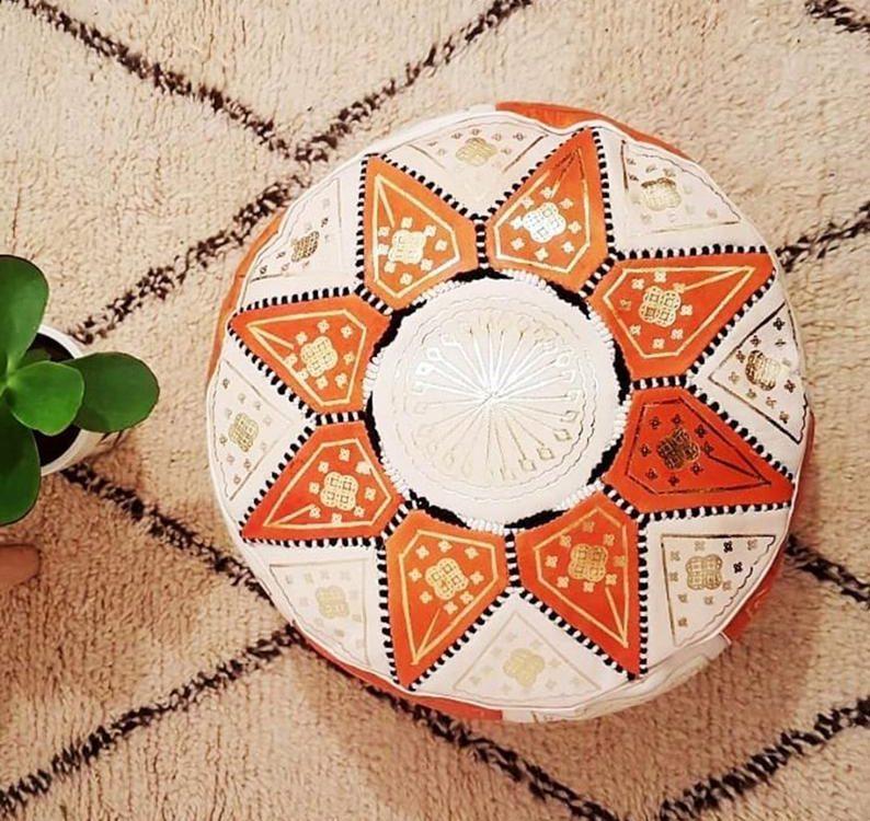 Moroccan pouf ottoman, Moroccan pouf, leather floor pouf, floor cushion, floor pillow, boho home decor, housewarming gift.
