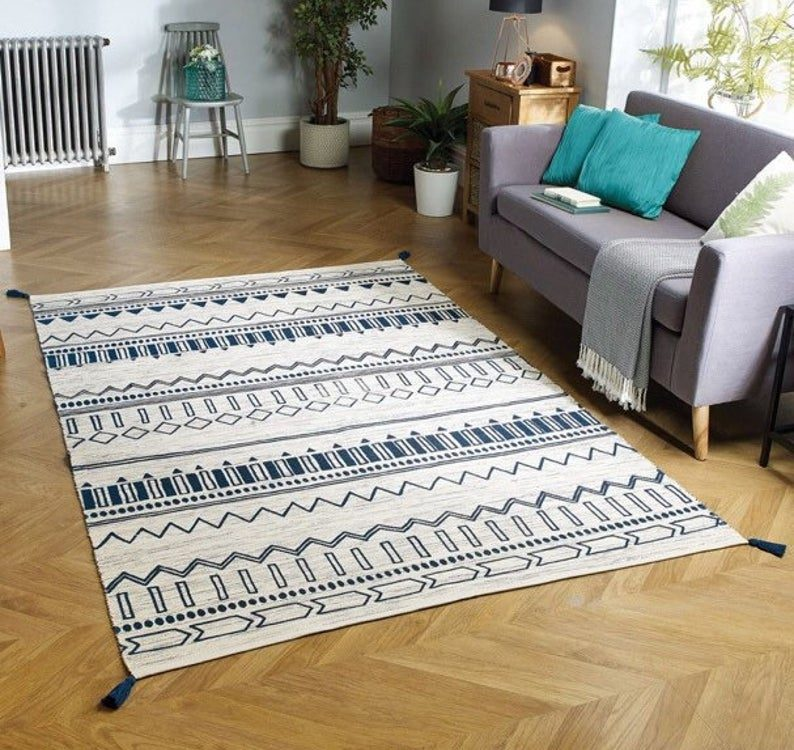 Printed Kilim Rug, Tribal Printed Moroccan Rug, Boho Rug, Bohemian Decor, Blue White Area Rug, Large Cotton Kilim