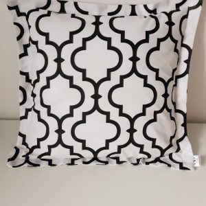 Cushion Cover,Pillow Case,White and black, Geometric 100% Cotton Fabric