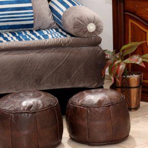 Set of 2 Poufs   Leather pouf   Moroccan Pouf   Pouf Brown Darker   Ottoman Pouf   Pouffe   Handmade Pouf Leather  Brown Pouf  Leather Chair