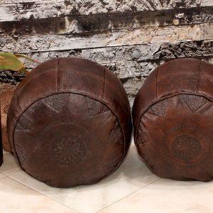 Set of 2 Poufs | Leather pouf | Moroccan Pouf | Pouf Brown Darker | Ottoman Pouf | Pouffe | Handmade Pouf Leather| Brown Pouf| Leather Chair