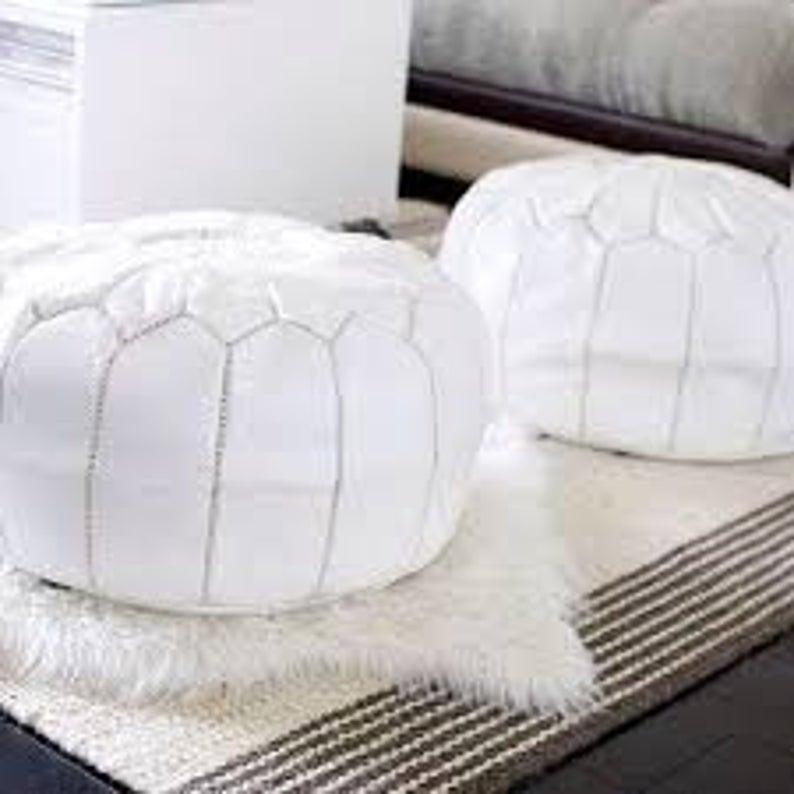 40% OFF** Set off 2 White Leather Pouf, Moroccan pouf, Morocco pouf, ottoman pouf, Moroccan ottoman leather pouf unstuffed