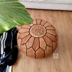 Moroccan POUF From Marrakesh with black Stitching Leather Pouf ottoman pouf morrocan tan pouf unstuffed