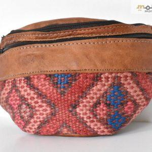 Pink & Blue Geometric Fanny Pack Design, Brown Bag