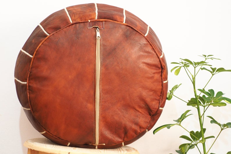 Moroccan Hand Made Pouf Leather Luxury Ottomans Footstools Cover High Quality Satisfaction Guaranteed.
