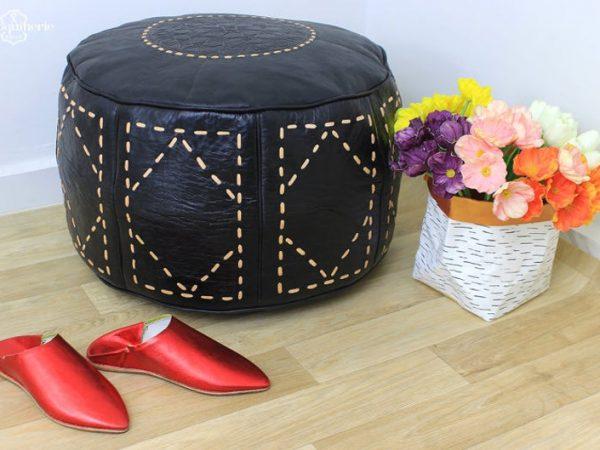 Black Leather Pouf, Moroccan Leather Pouf, Leather Ottoman, Leather Chair, Moroccan Leather Ottoman, Black Ottoman