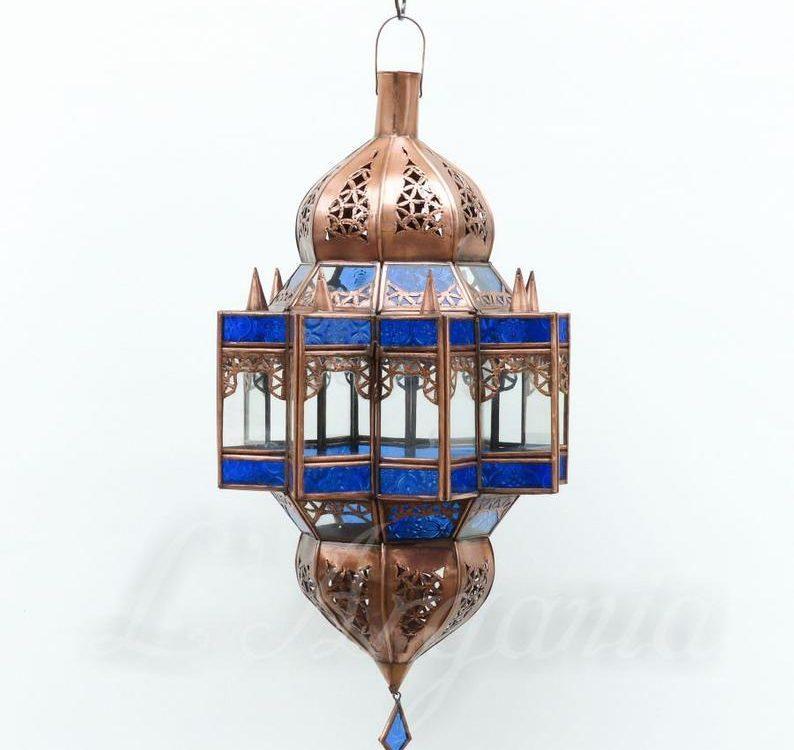 Moroccan Pendant Lantern, Moroccan Lighting , Handmade Lamp , Home decor lighting , Galvanised Light fixture , Free US Shipping , Blue color