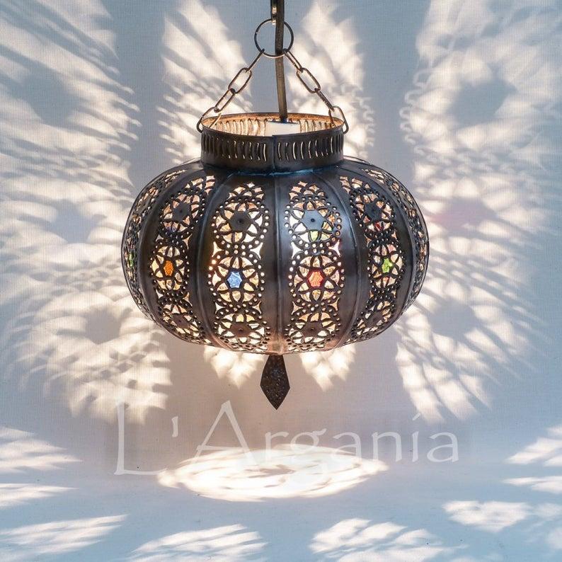 Moroccan Pendant Lantern, Moroccan Lighting , Handmade Lamp , Home decor lighting ,Hanging Light fixture , Free US Shipping ,RUSTIC Lamp