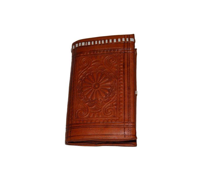 Moroccan Handmade Leather Wallet Carved Bi-fold Medium Orange