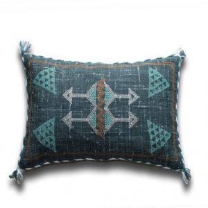 Teal Color Moroccan Silk Inspired Linen Cushion Cover Sabra Silk Sofa Pillow Cover Handmade Linen Pillow Cactus Silk Cushion Cover 12 X 20