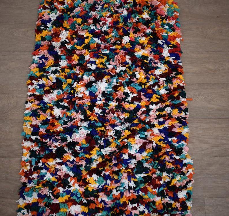 Moroccan Berber Boucherouite Patchwork MULTICOLORED Rug 135 x 80 cm 4,4 x 2,6 ft