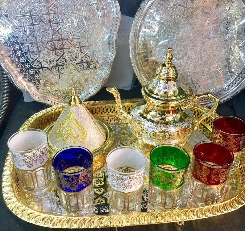 Moroccan Handmade Tea Set & Moroccan Brass and Velvet Tagine
