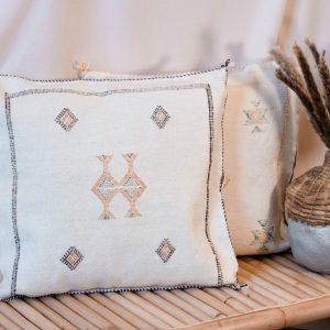 Moroccan Sabra Cactus Silk Cushion Cover - Vanilla square