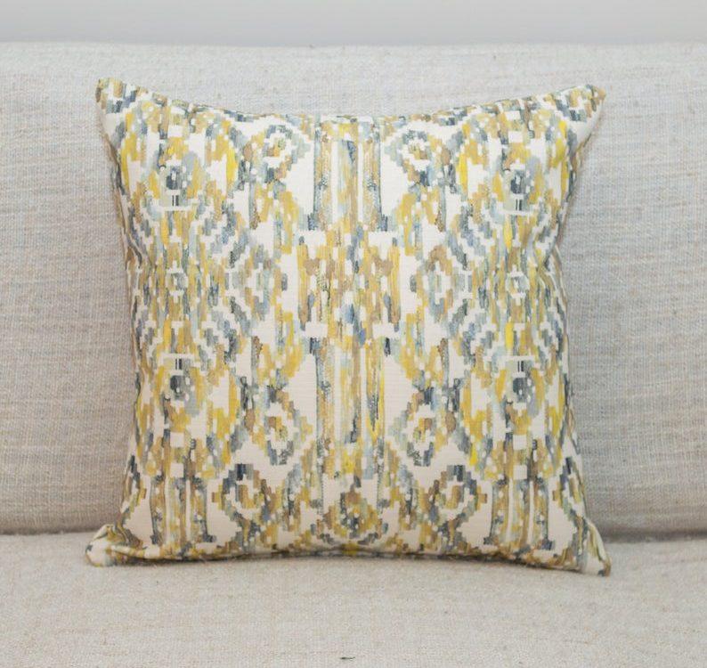 Moroccan Trellis Cushion in Ochre. Double Sided 100% Cotton. Aztec Style Ikat Geometric Pattern.