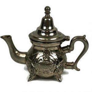 Vintage Moroccan Tea Pot, Engraved Moroccan Metal Tea Pot