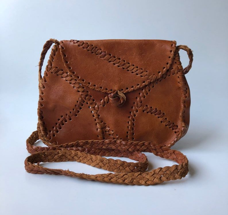 Vintage leather cross body shoulder bag patchwork stitch detail wrapped edges toggle closure souvenir