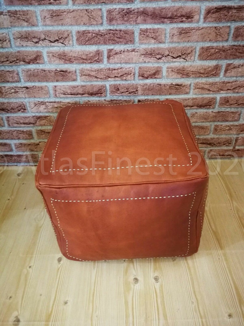 Square Natural Leather Moroccan Handwoven Light Tan Pouf