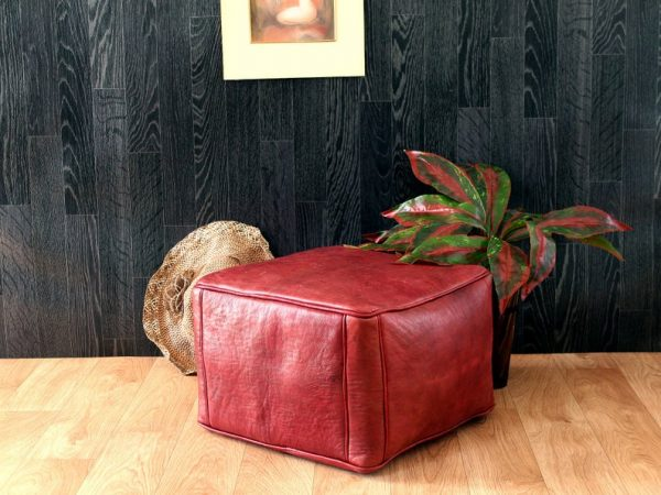 Square Leather Pouf | Moroccan Pouf | Footstool | Ottoman Pouf | Leather Pouf | Handmade Pouf Leather | Red Pouf | Leather Chair