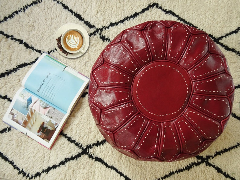 Red Moroccan Leather Pouf - Ottoman Footstool Hassock 100% real Natural Leather pouffe - handmade brown pouf