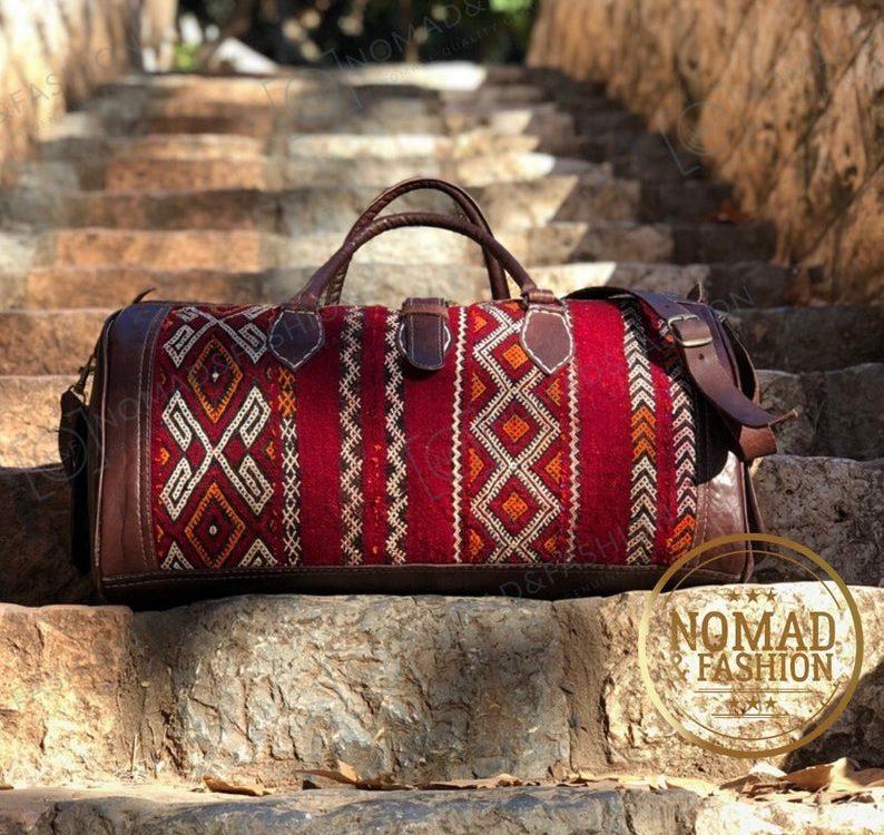 Moroccan Leather with kilim travel Shoulder Duffle Bag Handbag Tribal Bohemian