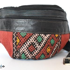Leather Fanny Pack, Unique design Kelim, Handmade Fanny Pack, Leather Bag, Embroidered carpet and leather, Moroccan Style, Unisex