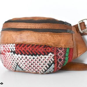 Leather Fanny Pack, Unique design Kilim, Handmade Fanny Pack, Handmade Leather Bag, Embroidered carpet and leather, Moroccan Style, Unisex