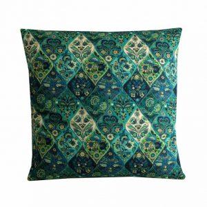 Moroccan Tile Cushion Teal Green Bohemian Pillow Cover 18x18, Boho Decor