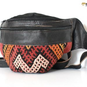 Black Leather Fanny Pack, Bag leather Kilim, Handmade Fanny Pack, handmade Leather Bag, vintage leather, Moroccan Style, Geometric