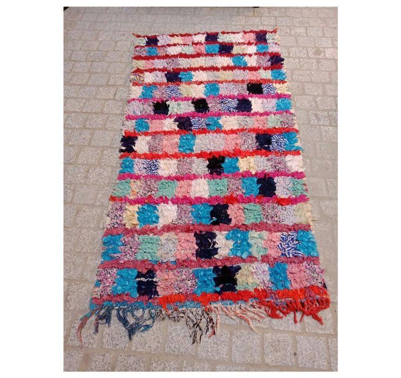 Vintage boucherouite rug 5 FT/ 3 FT, Moroccan boucherouite rug handmade berber rug Authentic Azilal area rug