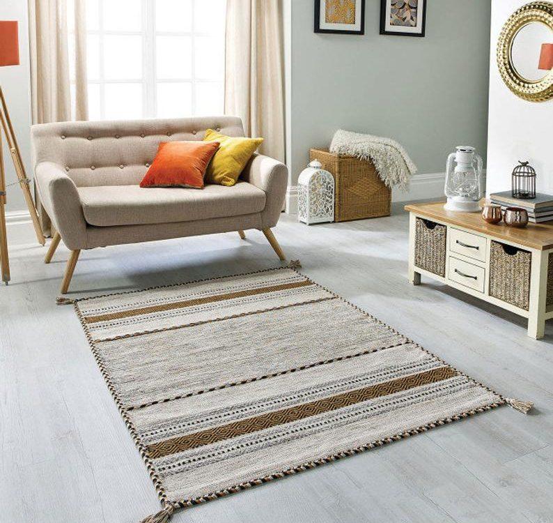 Beige/Ochre Kilim Rug, Moroccan Kilim, Boho Rug, Kelim Floor Mat, Tribal Rug, Bohemian Decor, 120 x170