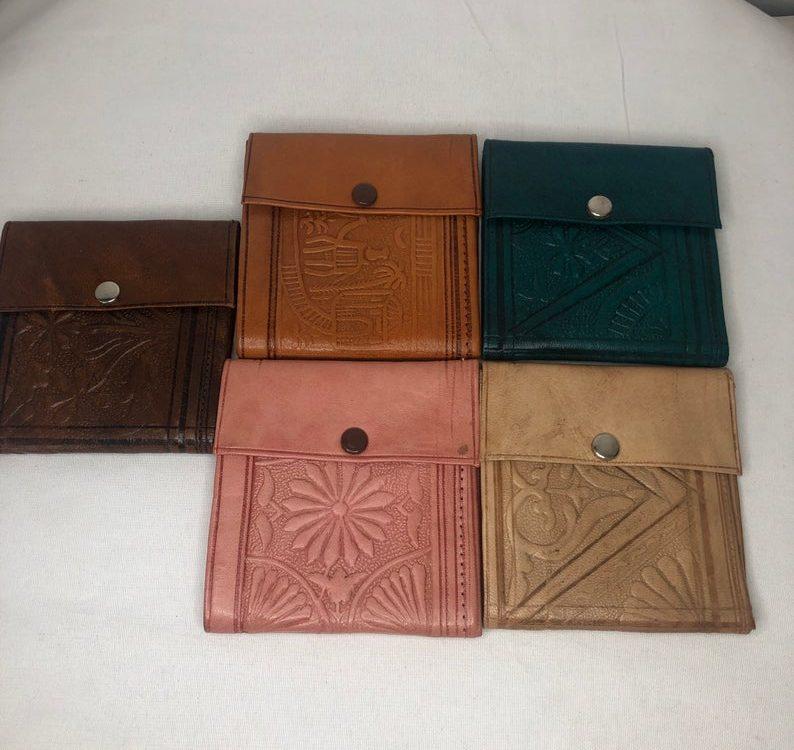 Moroccan handmade genuine leather vintage wallet