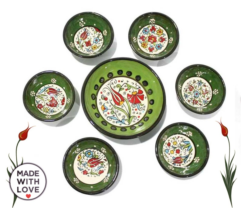7x Turkish Ceramics Bowls Set Handmade Dishes Hand Painted Pottery Cute Breakfeast Meze Salad Bowls Gift For Home Buyers, Housewarming