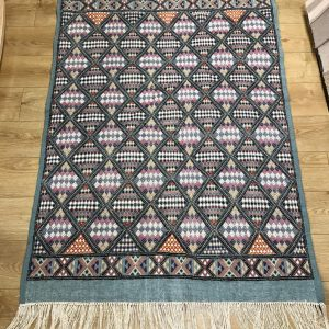 Moroccan Kilim Runner Rug, Green Hand Knotted Berber Rug, 172 x 123cm, Corridor Runner, Wool Rug Pad, Traditional Geometric Turkish