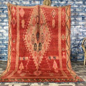 Moroccan Boujad Rug Red Area Rug 6x8 - Vintage Berber Rug