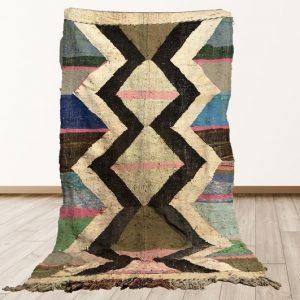 Moroccan Flatweave Kilim rug, Vintage berber Boucherouite area rug 8x4 ft!
