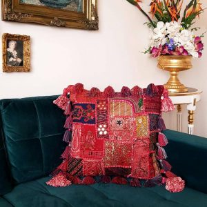 Hand Made Cushion with Authentic Moroccan Patchwork Tapestry and Tassels