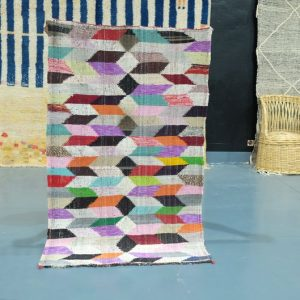 30% off Handmade Kilim Boucherouite rug, 5 ft x 3 ft , Berber Moroccan kilim rug, Handmade Berber Rug