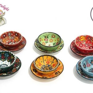 12pcs Ceramic Bowls Set With Plate Turkish HandPainted Colorful Embroidered Food Safe Meze Snack Breakfast Pottery Gift For Home Decor