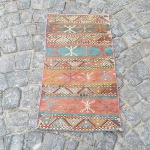 3.2x 1.8 ft Kilim Rug - Vintage Rug - Turkish Kilim Rug - Small Rug - Door Mat Rug 02404