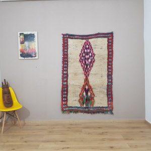 boucherouite rug - berber rug , moroccan rug , area rug , vintage boucherouite rug ,runner boucherouite , boho rug