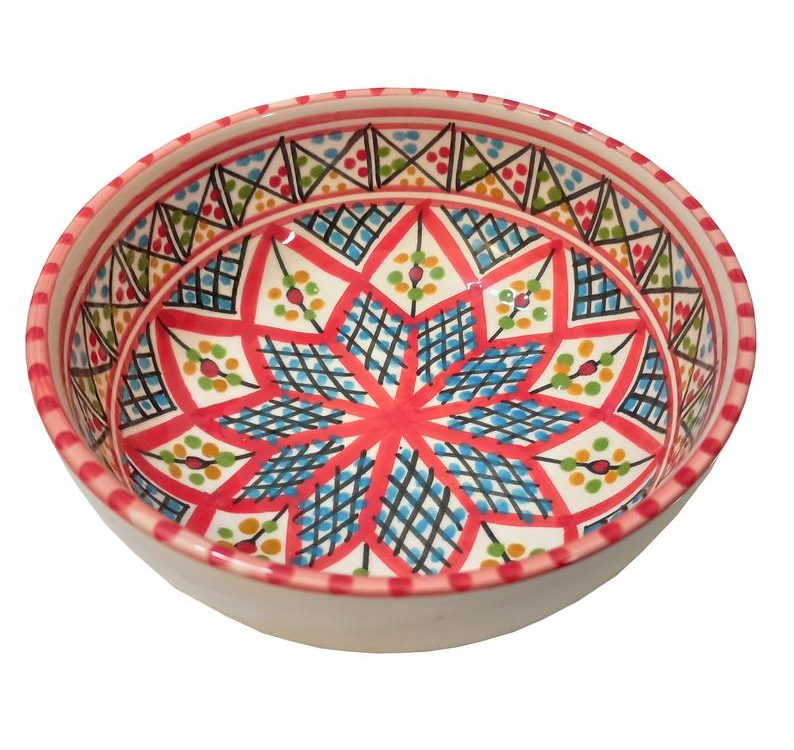 Hand made ceramic Bowl,Hand Painted made for MAGO OF CARTHAGE traditional Design of the Mediterranean island Djerba.