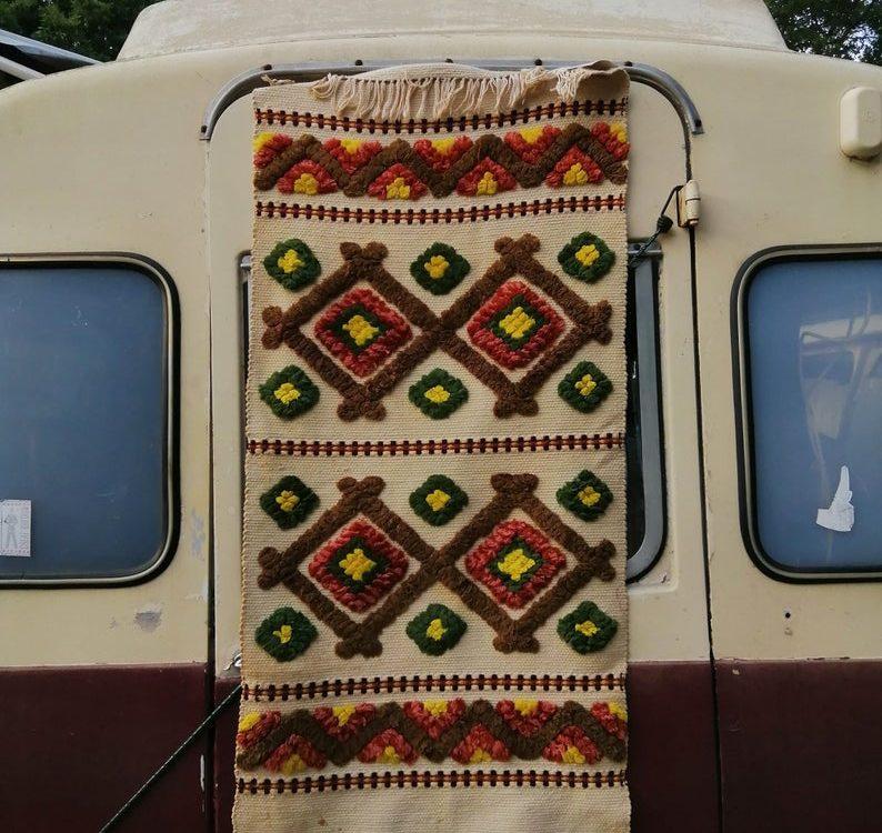Vintage handmade Moroccan kilim rug 4x2ft flat weave with shaggy long pile so boho
