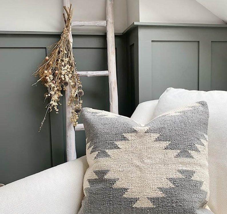 grey Boho cushion ~ Moroccan pillow~ cream aztec woven cushion~ cream & grey moroccan cushion ~ boho cushion cream ~ bohemian pillow susie