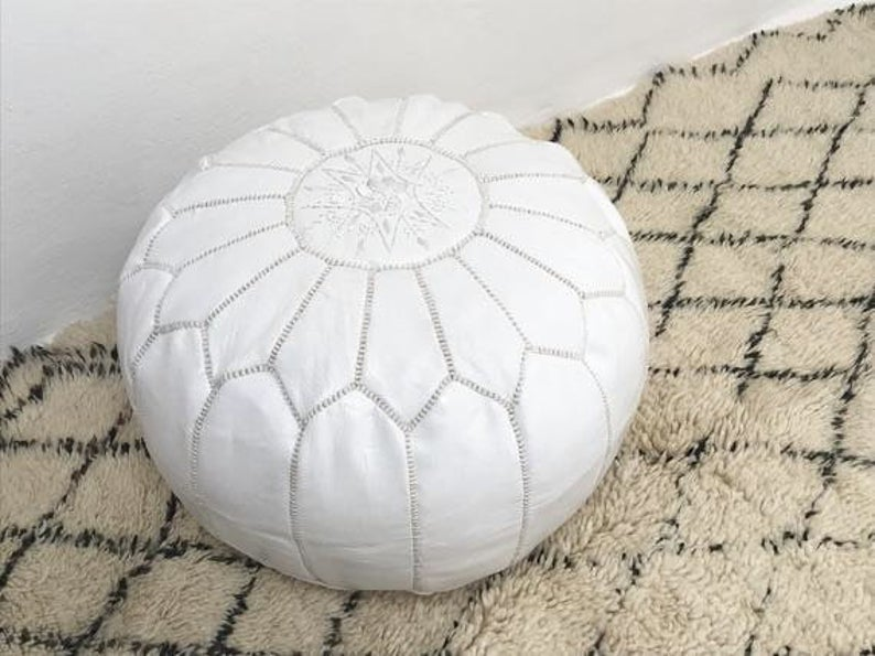 moroccan pouf leather luxury ottomans footstools white unstuffed