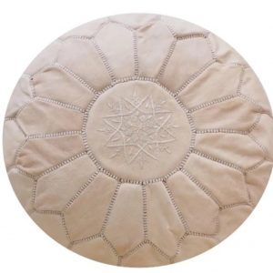 Moroccan POUF * * 50 % OFF * * with White Stitching Leather Pouf Ottoman Moroccan Leather Pouf Moroccan Pouffe