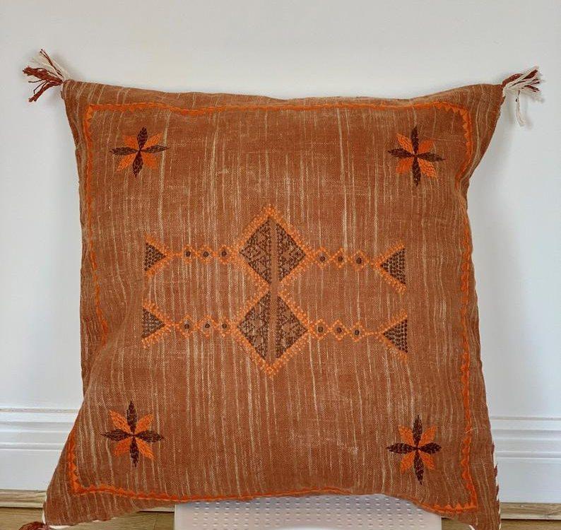 Sabra-silk-inspired-handmade-linen-20X20-pillow-cactus-silk-cushion-Moroccan-silk-pillow-cover-cushion-couch-sofa-pillow-cover-pillow-cover